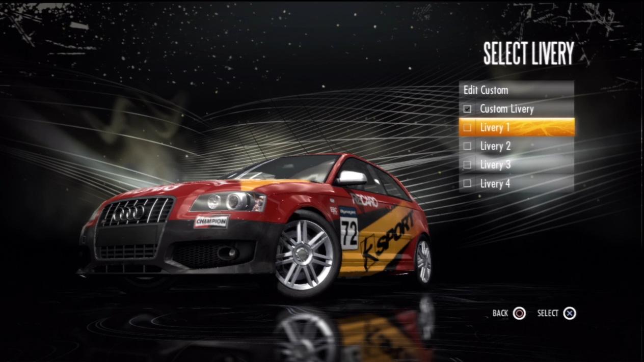 У каждого автомобиля в игре есть четыре уникальных схемы окраски.  В дополнение к ним Вы можете создать свою...